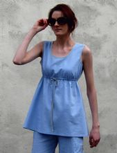 Pale blue linen, fit and flare shell top